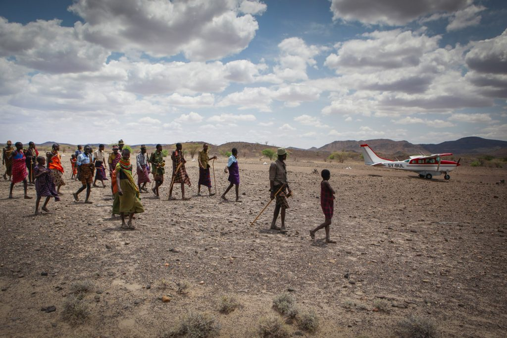 A pilot from the Dutch NGO Terre des hommes flies above the Northern parts of Kenya (Turkana) for medical aid and assistance. Injured children are brought to a hospital in Lodwar.